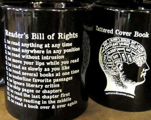 Tattered Cover mug for speed reading