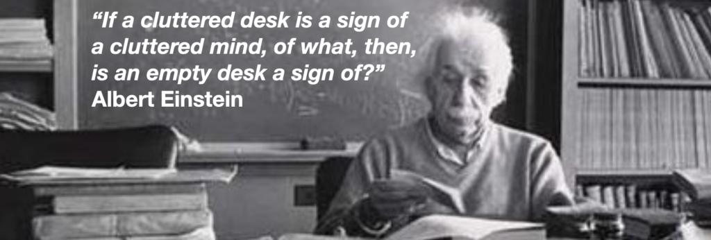 Albert Einstein's cluttered desk