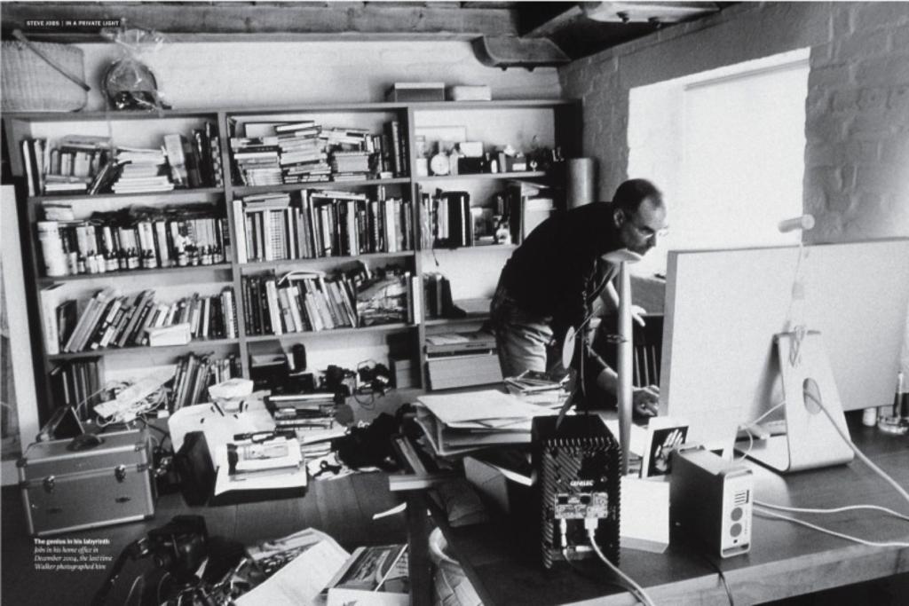 Steve Jobs messy library