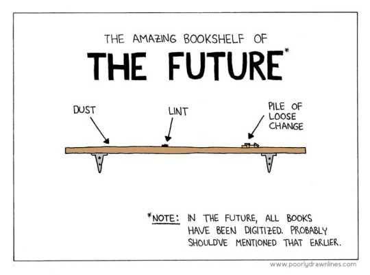 Amazing bookshelf of the future cartoon - see 30 funniest cartoons about ebooks and digital reading